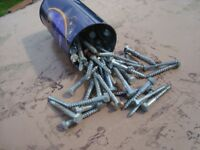 COACH BOLTS. APPROXIMATELY 50 IN TOTAL. 1.5 INCH - 3 INCH.