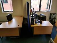 2 x office desks with leather chairs and 6ft partition