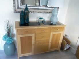 Contemporary Light oak sideboard with black marble inserts