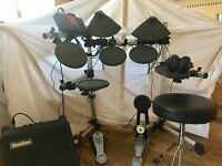 Yamaha Electric Drum Kit, including amplifier, drum stool and headphones
