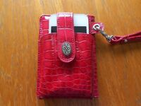 Iphone 4s Red Phone Case Cover Mock Crocodile Leather Credit Card Slots