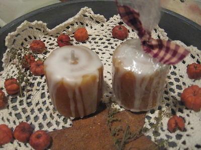 Hand Poured Votives Set - Prim* Hand-poured* Cinnamon Bun Votive Candles* Shelf Sitter* Ornies* set/2