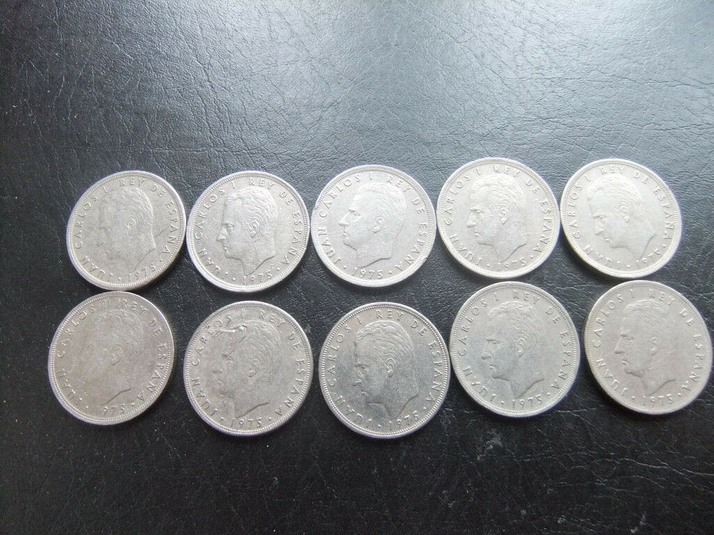 10 Collectable Spanish 5 pesetas coins date 1975