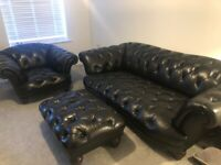 Tetrad Oskar Black 3 Piece Chesterfield Suite- 3/4 Seat Sofa, Club Chair & Footstool