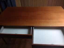 Office desk two drawers mahogany veneer.