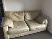 3 & 2 cream leather sofas free