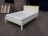 solid wood cream and pine double bed frame with 11 inch thick mattress (all like new, ex display)