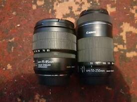Canon 15 85 IS USM + Canon 55 250 IS STM both In excellent condition!