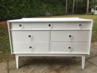 Hand Painted Retro Chest of Drawers/ TV Stand in White