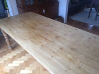 Solid pine dinning/kitchen table 7'x3'