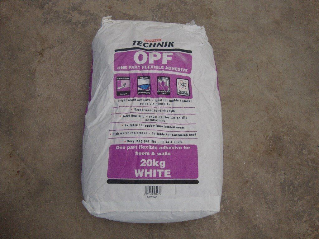 Tiles, Tile adhesive, Grout, Tile trim, Self leveling compound, Wall sealer