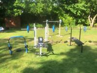 Collection of weight training gym equipment