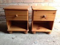 Bedside tables with drawers pine.