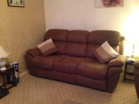 3 seater recliner sofa, 2 reclining arm chairs