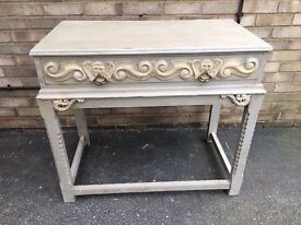 CONSOLE TABLE PAINTED SOLID OAK & CARVED FRENCH FARMHOUSE STYLE WITH DRAWER