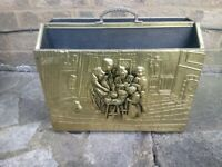 VINTAGE BRASS EMBOSSED NEWSPAPER/MAGAZINE RACK