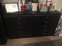 Black marble effect chest drawers