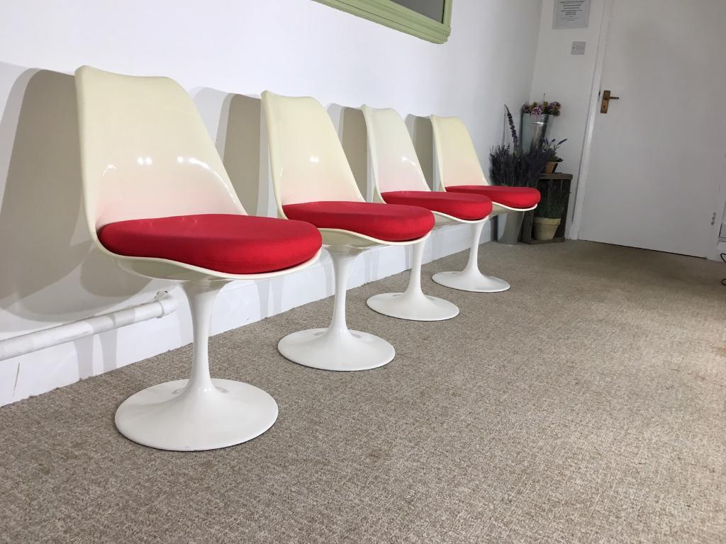 Retro Saarinen Tulip Chairs Set Of 4 Stunning Mid Century Designer Item 70s