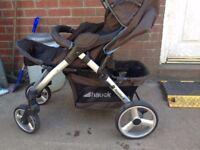 Babys 1st born hauck pram with car seat