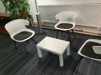 3 Cove office/conference/meeting/boardroom/reception chairs wooden frame in white