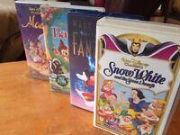 Four (4) Disney VHS Video Tapes Lot: Snow White Fantasia Bambi Aladdin PAL