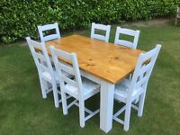 Hand painted rustic antique pine table and six solid oak reupholstered chairs