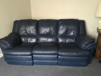 Leather sofa with electric recliners and chair