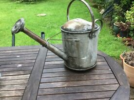 Vintage (50s) galvanised watering can - superb garden feature