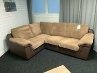 Brown cord corner sofa