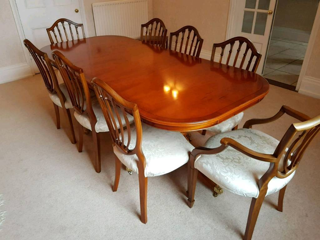 Yew Dining Table Chairs With Sideboard