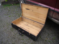 LARGE OLD WOODEN LIDDED BOX TRUNK PINE