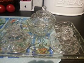 One set of cut glass dressing table glassware