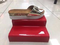 Red 2 Step Shoe Display Tier Free Standing Stand Retail Shop Riser Perspex Plinth Boutique