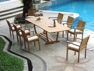 "(9-Piece Outdoor Teak Dining Set: 94"" Rectangle Table, 8 Stacking Arm Chairs Levb)"
