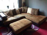 Large corner sofa and storage foot stall
