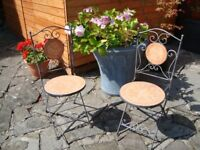 PAIR OF GARDEN CHAIRS FOLD FOR STORAGE ONLY £30 THE PAIR