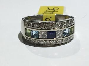 #1602 10K WHITE GOLD DIAMOND, SAPPHIRE, AQUAMARINE AND PERIDOT STONES! *SIZE 6 3/4* APPRAISED FOR $2950.00 SELL FOR 995!