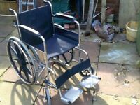 FOLDING SELF PROPEL WHEELCHAIR IN VERY GOOD CONDITION WITH CUSHION HAS WIDE SEAT