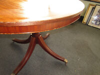 ANTIQUE STYLE ROUND OFFICE TABLE (107cm) ON PEDESTAL WITH CLAW FEET AND CASTORS
