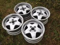 "Fondmetal 15"" 4x114.3 7j alloy wheels. Deep dish. Classic original, not borbet, lenso, bbs, aez tm"
