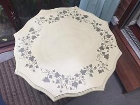 Unique, hand painted solid wood Octagonal table