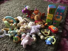 Bundle of baby toys soft blocks, rattles etc