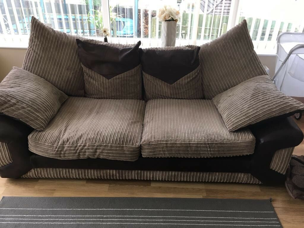 3 Seater and 2 Seater brown fabric and leather sofas