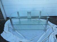 Glass and aluminium TV stand