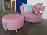 BRAND NEW / EX DISPLAY JELLY PATTERN SWIVEL CHAIR WITH CUSHIONS AND FOOTSTOOL DELIVERY AVAILABLE