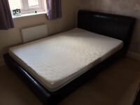 leather double bed frame with mattress, excellent condition, CAN DELIVER
