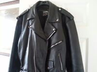 "Mens black leather jachet 42"" excellent condition hardly worn"