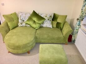 DFS 4 seater sofa, 3 seater sofa and footstool, like new
