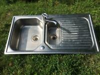 2 stainless steel kitchen sinks and taps - £10 each