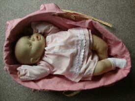 VINTAGE 1980'S BERJUSA REAL LIFE SIZE BABY DOLL. MOVES HEAD. REDUCED.